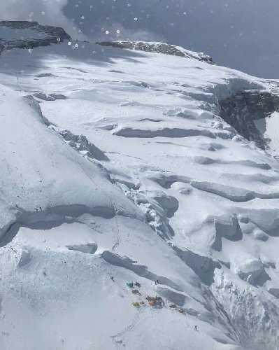 Аннапурна. Вид на штурмовой, четвертый лагерь на отметке 7300 метров и участок к вершине. 15 апреля 2021 года. Фото Chhang Dawa Sherpa