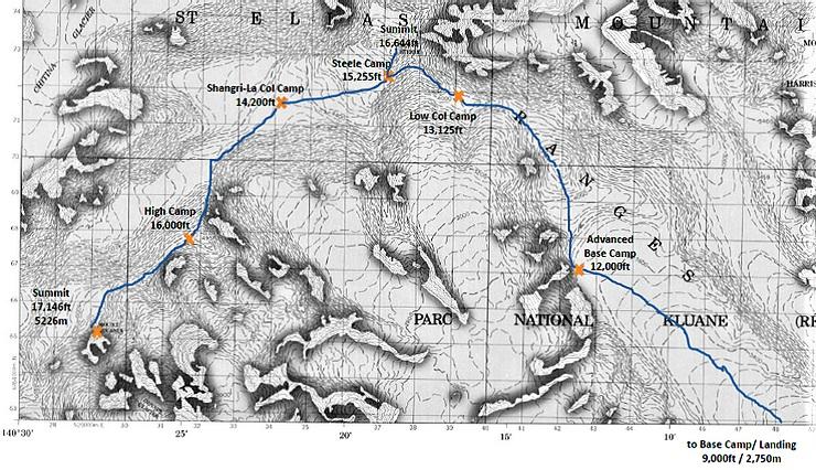 Маршрут восхождения на вершину горы Лукейния (Lucania, 5226 м)