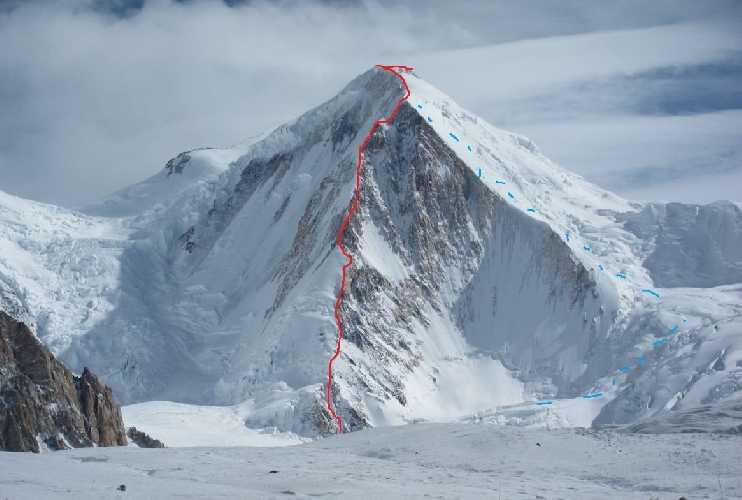 Планируемый маршрут восхождения  по юго-западному ребру горы Сиа Кангри (Sia Kangri, 7422 м) в Пакистане