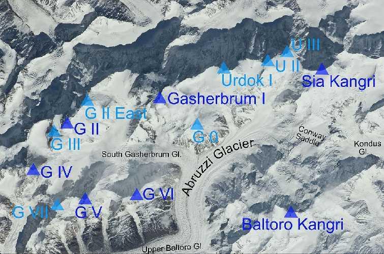 расположение горы Сиа Кангри (Sia Kangri, 7422 м) в Пакистане