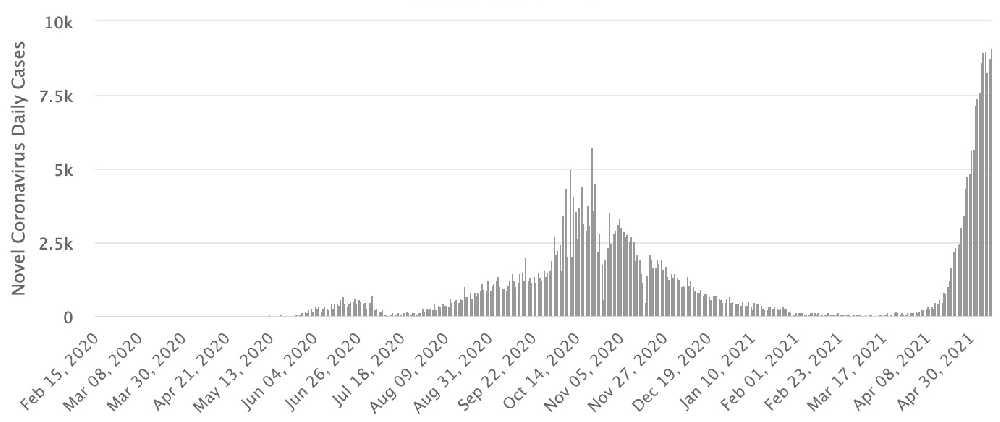 График заражения коронавирусной инфекцией в Непале