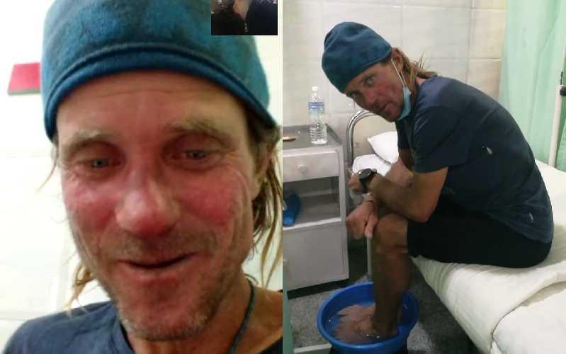 Марек Голечек (Marek Holeček) в больнице Катманду, после экспедиции на Барунцзе