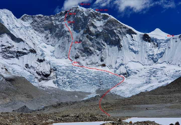 """маршрут  """"Heavenly Trap"""" по северо-западной стене горы Барунцзе (Baruntse) высотой 7129 метров"""