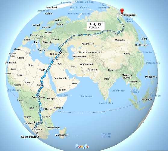 самый длинный прямолинейный пешеходный маршрут