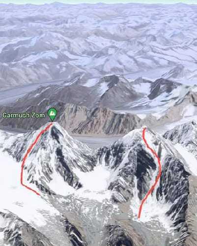 Линии горнолыжного спуска с Гармуш Зом (Garmush Zom) высотой 6244 метра и соседнего безымянного шеститысячника