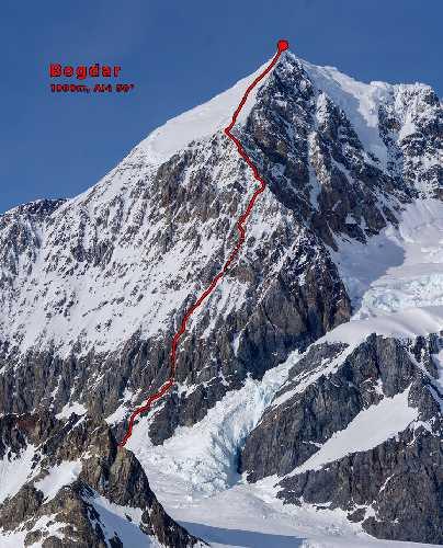 "Гора Логбард (Mount Logbard). Маршрут ""Bogdar"" (1,000м, AI4 5.3 50°): Первопроходцы: Алик Берг, Маартен Ван Херен, 2 мая 2021"
