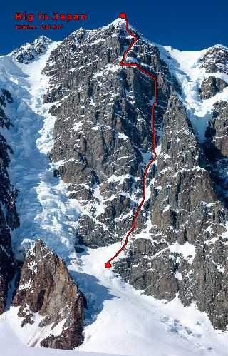 "Гора МакАртур Пик (McArthur Peak). Маршрут ""Big in Japan"" (1,500 м, AI6 50°), Без выхода на вершину пика. Первопроходцы:  Алик Берг, Итан Берман , 5 мая"