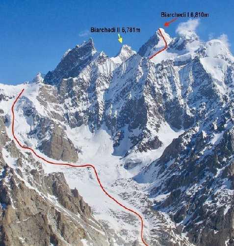 пик Биарчеди I (Biarchedi Peak) высотой 6810 метр. Планируемый маршрут Ральфа Дуймовица (Ralf Dujmovits) и Ненси Хансен (Nancy Hansen). Фото Luka Pandolfi