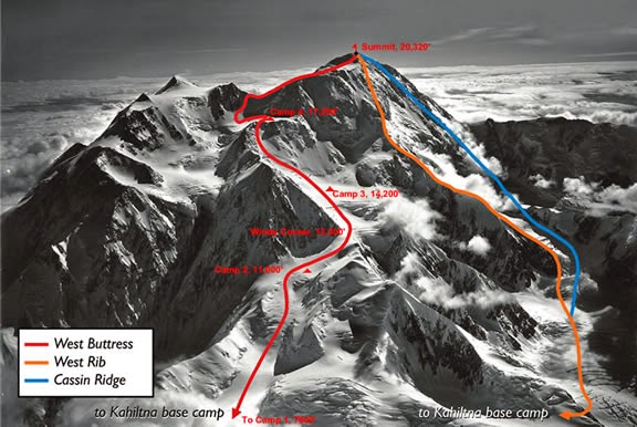 Денали: маршрут восхождения отмечен синей линией, маршрут спуска - красной