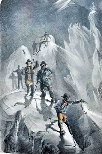 туристы в горах Шамони. Гравюра начала 19 века