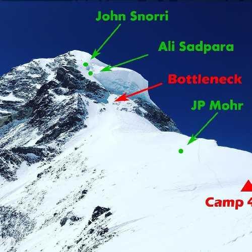 Место нахождения тел Джона Снорри, Мухаммеда Али Садпары и Хуана Пабло Мора