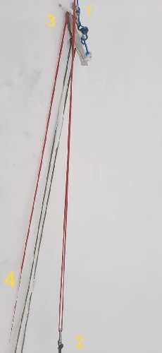 Местоположение Джона Снорри: 1. Красная веревка - фиксированные перила; 2. Карабин Джона Снорри (и тело); 3. Сломанный снежная станция с зацепившейся за нее веревкой; 4. Спусковая веревка