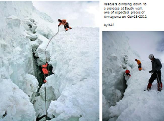 Поиски пропавшей группы в трещине на высоте 5800 метров