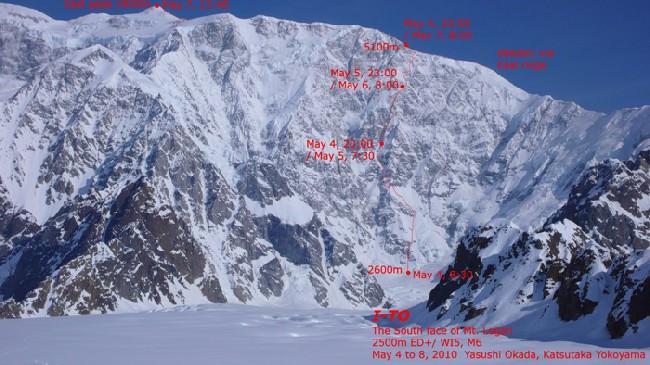 Маршрут японской команды на вершину Логан по Юго-Восточной стене.