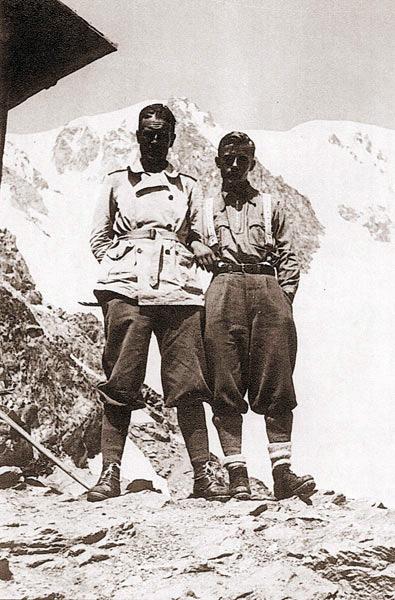 Giusto Gervasutti  с Paolo Bollini после восхождения на Монблан