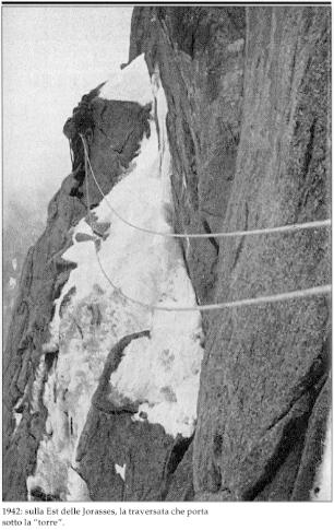 """Восточная стена Grandes Jorasses. Маршрут Giusto Gervasutti. Фото из книги """"Ascent in the Alps"""""""