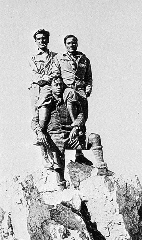 Cima Grande di Lavaredo. 1933 год.Mario Salvadori, Emilio Comici (справа) и Uberto Pozzi