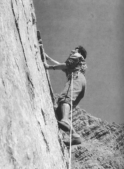 Hermann Buhl (Герман Буль) пр ивосхождении на восточную стену Watzmann (Berchtesgadener Alpen)