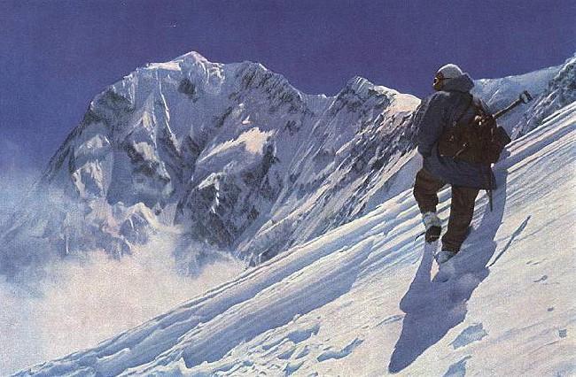 Hermann Buhl (Герман Буль) на фоне Нанга Парбат (Nanga Parbat, 8126 м)