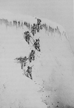 Первое покорение Wetterhorn в 1854 году англичанином Alfred Wills (обратите внимание на елку)