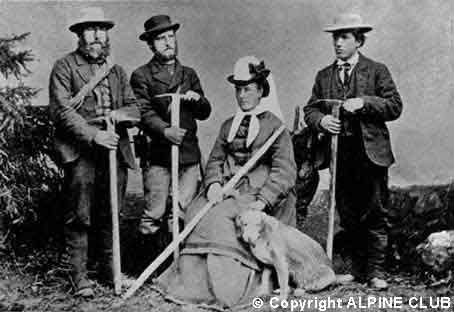 Члены Alpine Club: Christian Almer, WAB Coolidge, Miss Brevoort, Ulrich Almer (1874)