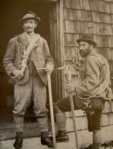 австрийские горные гиды Anselm Klotz и Josef Frey: первыми покорившие Freispitze 1875 год