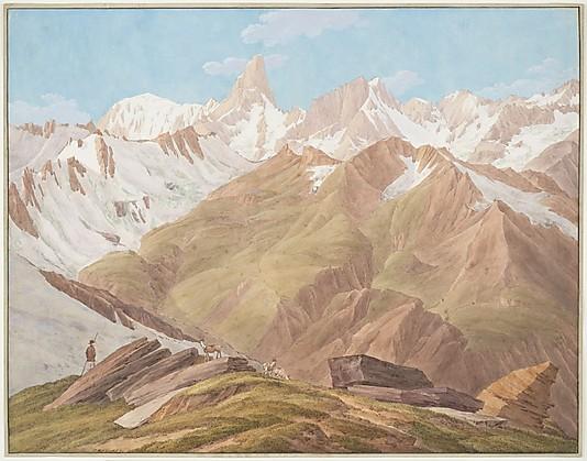 вид на массив Монблан. Картина Jean-Antoine Linck. Конец 18 века