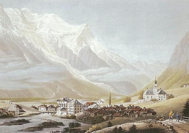 вид на Монблан из Шамони, картина начала XX в.