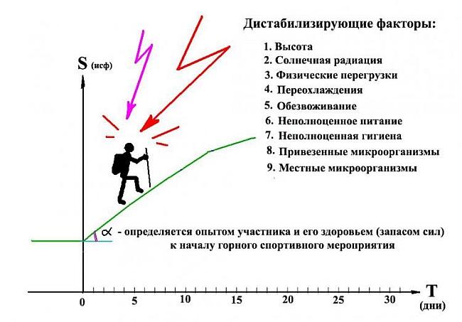 Рис 2. Дестабилизирующие факторы, препятствующие росту спортивной формы.
