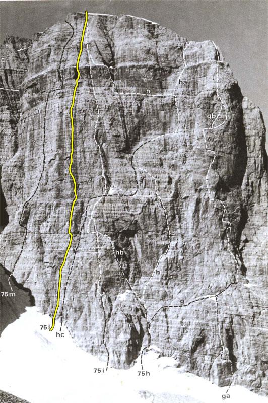 маршрут «La via delle guide» на Crozzon di Brenta созданный Bruno Detassis (Бруно Детассис).
