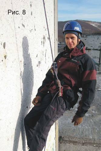 Применение узла «автоблок» для самостраховки при спуске по веревке в альпинизме.