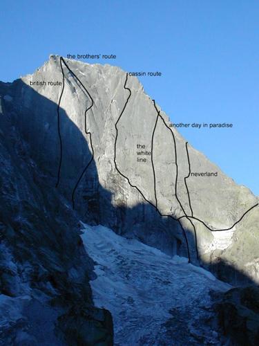 Piz Badile (TD / 1200 m / IV/6a). Маршрут Риккардо Кассин) (Ricсardo Cassin route).