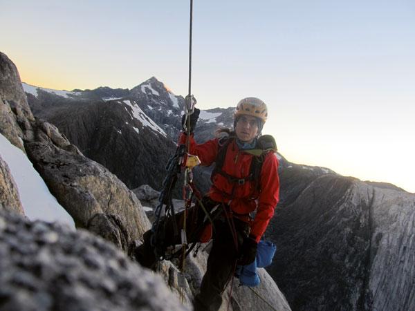 "Silvia Vidal на маршруте ""Espiadimonis"" (VI A4 6б), 1300 метров в Патагонии"