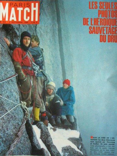 François Guillot и Gary Hemming с двумя немецкими альпинистами. Фото René Desmaison для Paris-Match