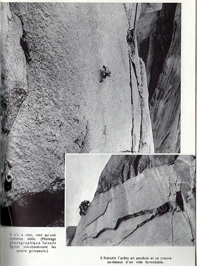 Самый сложный участок маршрута по Западному склону Дрю: маятниковый переход. Фото Guido Magnone 1952