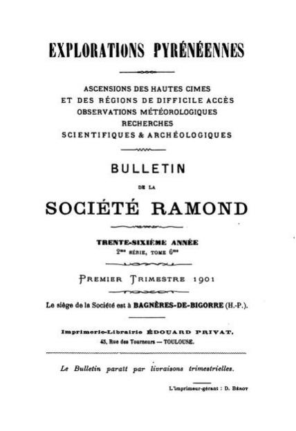 бюллетень «Исследование Пиренеев» клуба «Ramond society»