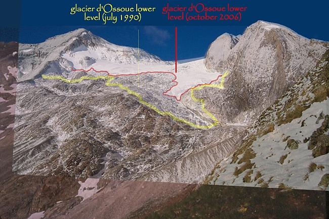 современное изменение ледника на Vignemale
