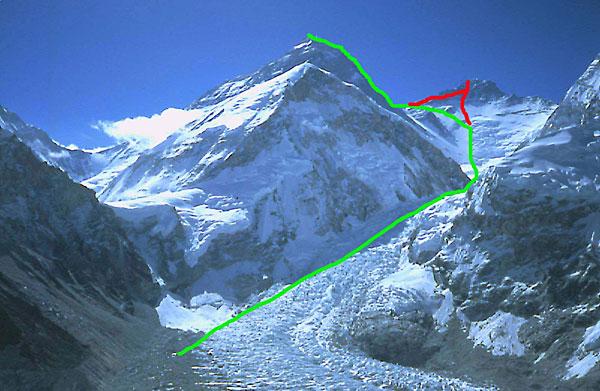 Трек Симоне: зеленым цветом - маршрут на Эверест, красным на Лхоцзе