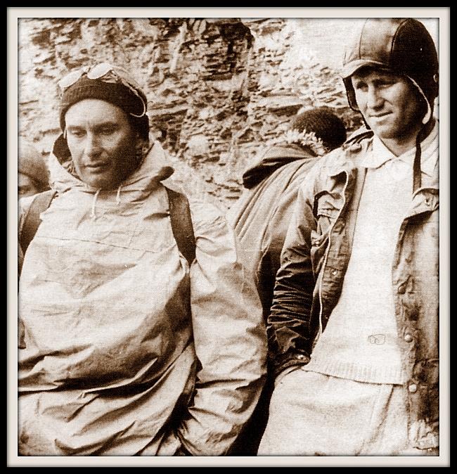 Лионель Террай  (Lionel Terray) (слева) с Carlo Mauri во время спасоперации на Eiger в 1957 году