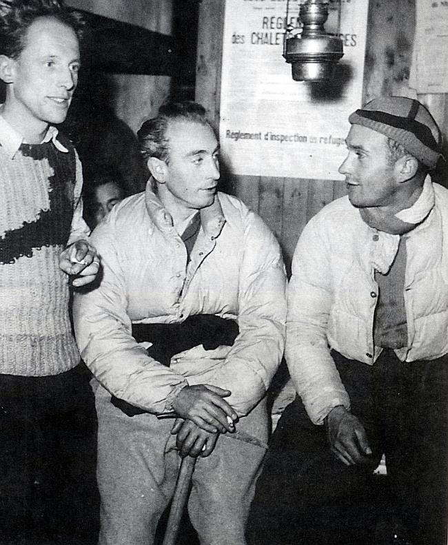 Лионель Террай  (Lionel Terray) справа с Louis Lachenal и Renè Beckert (в центре)