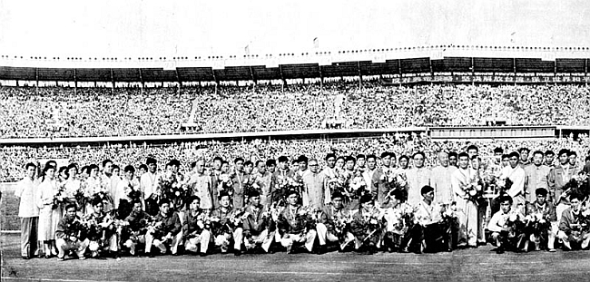 Встреча на стадионе в Пекине