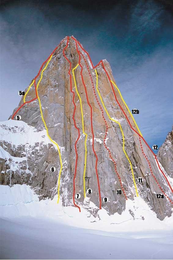 первый маршрут «French Route» на Фитц Рой (Fitz Roy,3375 м) Guido Magnone, Lionel Terray №5 на фото