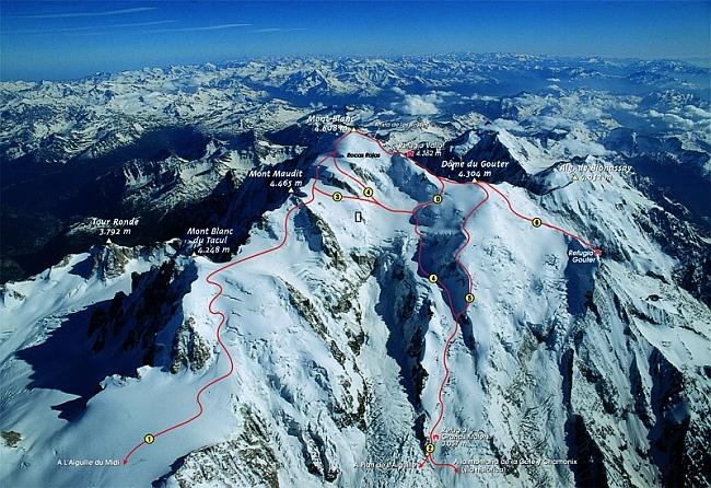 """маршрут """"voie des trois monts"""" на вершины (Mont Maudit, Mont Blanc du Tacul, Monte Bianco"""