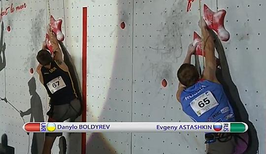 Даниил Болдырев на этапе Кубка Мира по скалолазанию в Шамони