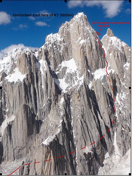 Маршрут по восточной стене пика K7 (6935m, East Face of K7)