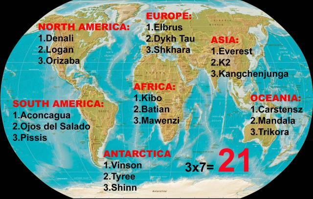 """вершины по программе программы """"Тройные 7 вершин"""" (Triple Seven Summits)"""
