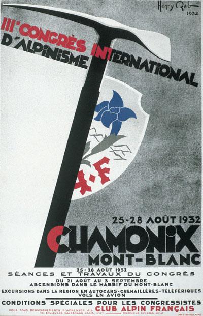 Плакат 1932 года с Третьего международного конгресса по альпинизму в Шамони, Франция.