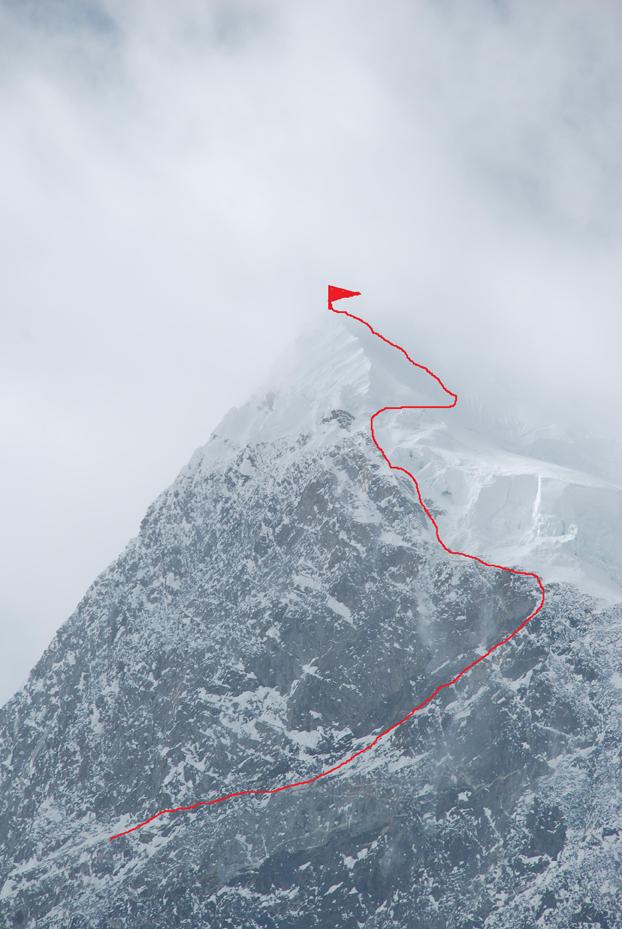 Нитка русского маршрута на Muztagh Tower
