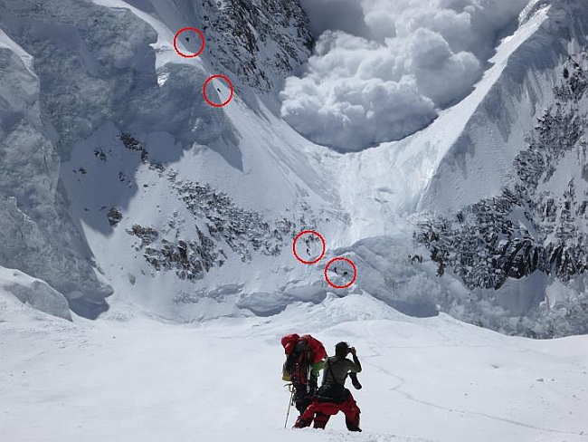 Группа из 6-ти альпинистов, поднимавшихся по кулуару в момент схода лавины