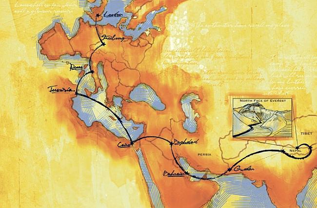 Карта маршрута Мориса Уилсона (Maurice Wilson)
